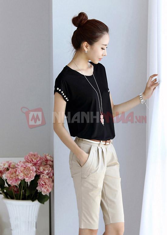 Phong cach cung Ao thun HANA dinh nut Nhanhmua